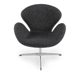 Темно-серое кресло Swan, тканевая обивка