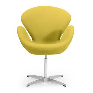 Горчичное кресло Swan, тканевая обивка