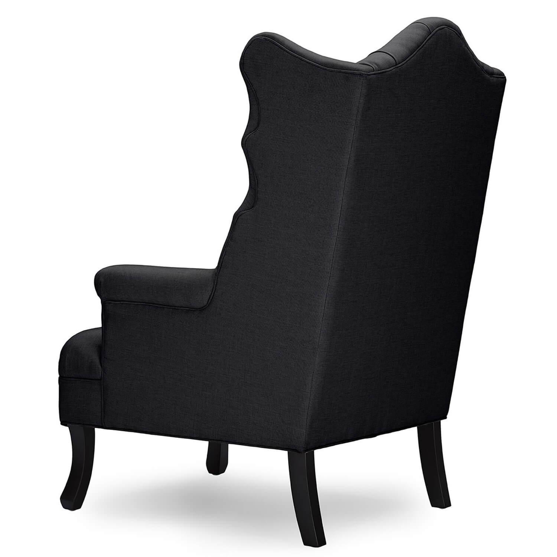 Кресло трон с ушами Madison, черное
