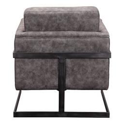 Кресло Luxley, кожаное, серое