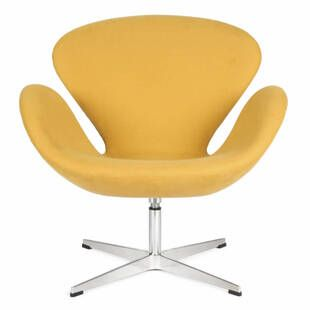Желтое кресло Swan, тканевая обивка