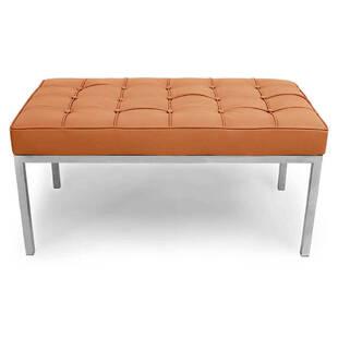 Банкетка Florence оранжевая кожаная двухместная