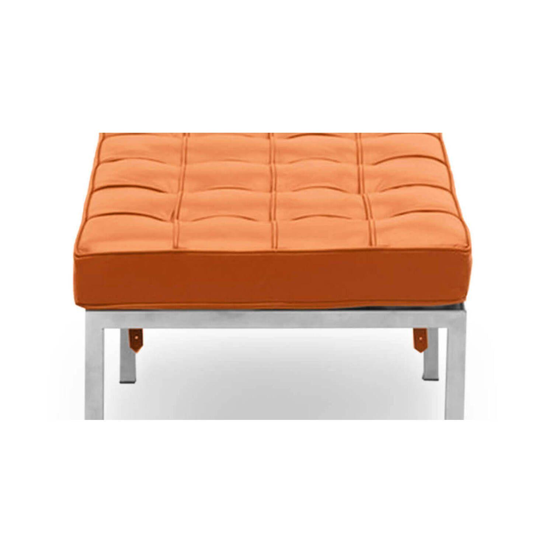 Банкетка Florence оранжевая трехместная, экокожа