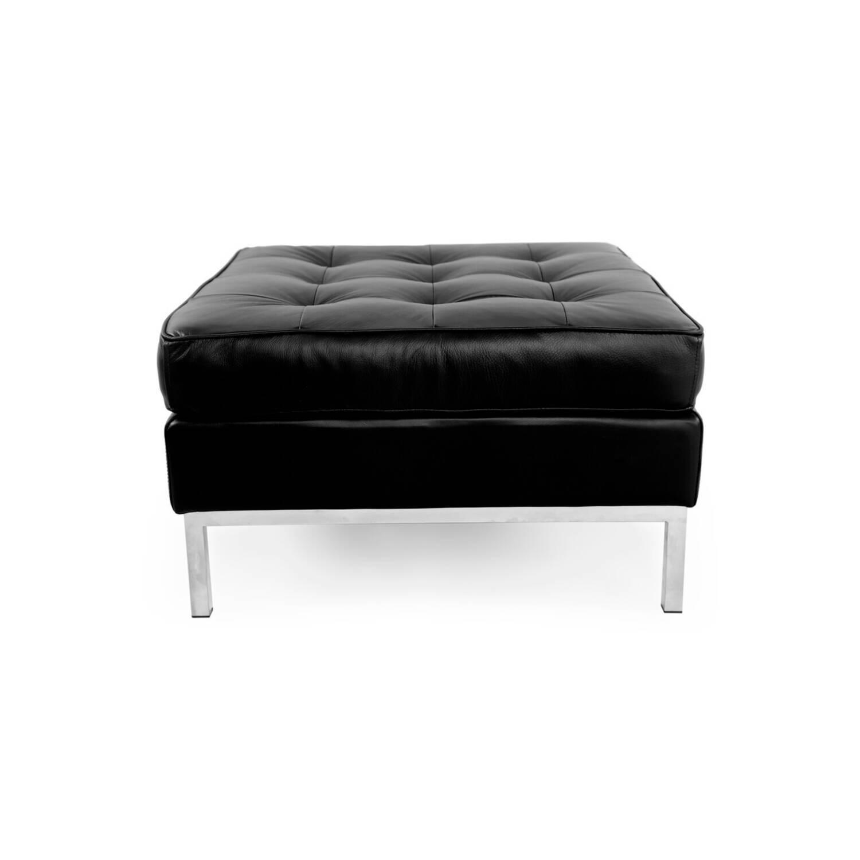 Дизайнерский черный кожаный пуф Florence, в стиле Классический модерн с элементами стиля Лофт.