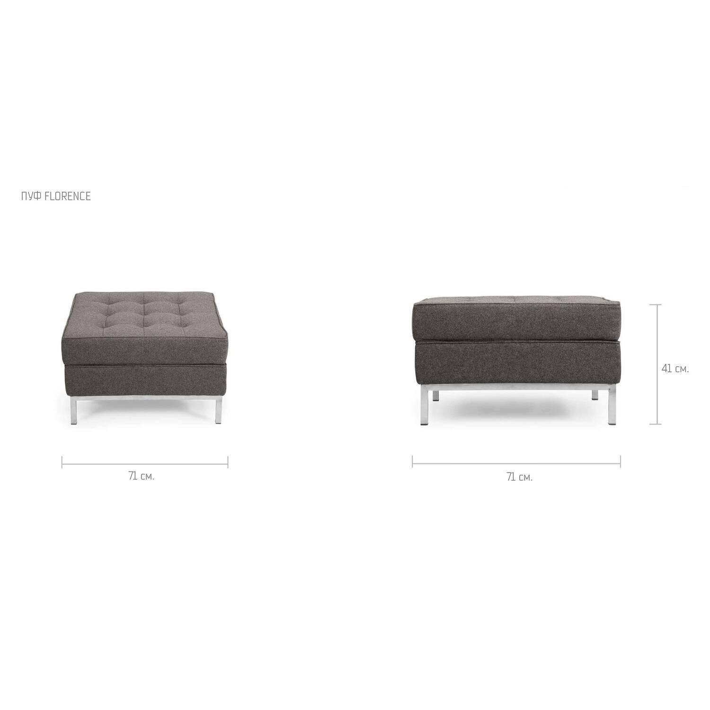Дизайнерский пуф Florence, из экокожи, в стиле Классический модерн с элементами стиля Лофт.