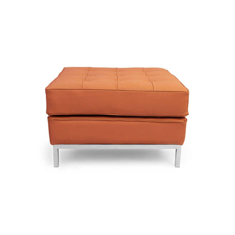 Дизайнерский оранжевый кожаный пуф Florence, в стиле Классический модерн с элементами стиля Лофт.