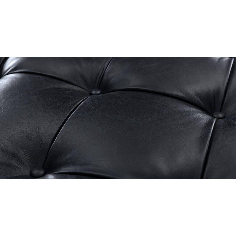 Пуф Tablet, черный кожаный