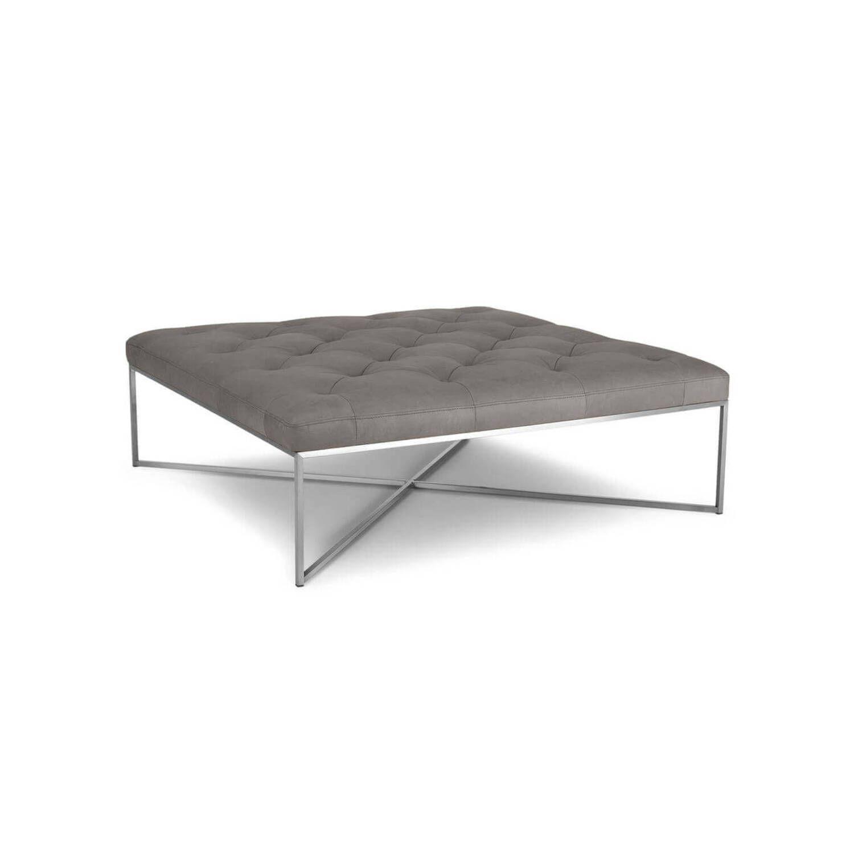 Дизайнерский пуф Tablet, серый кожаный