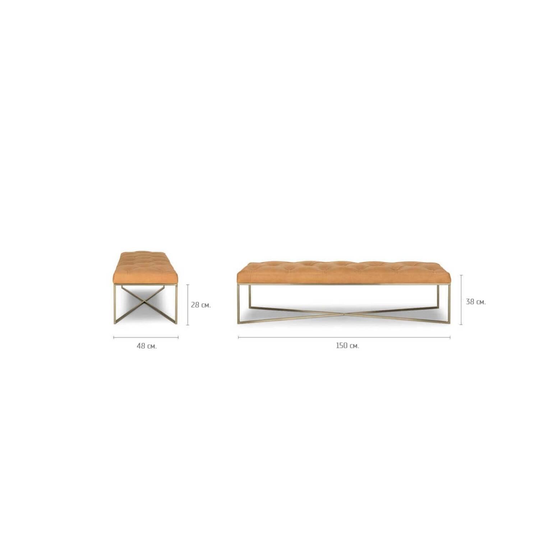 Дизайнерская банкетка Tablet, оранжевая кожаная