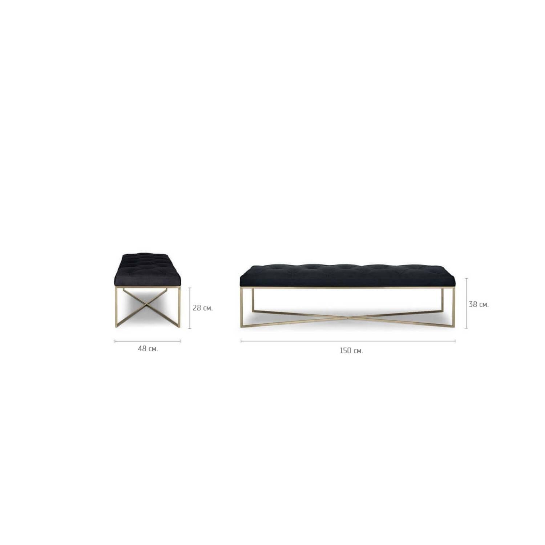 Дизайнерская банкетка Tablet, черная кожаная