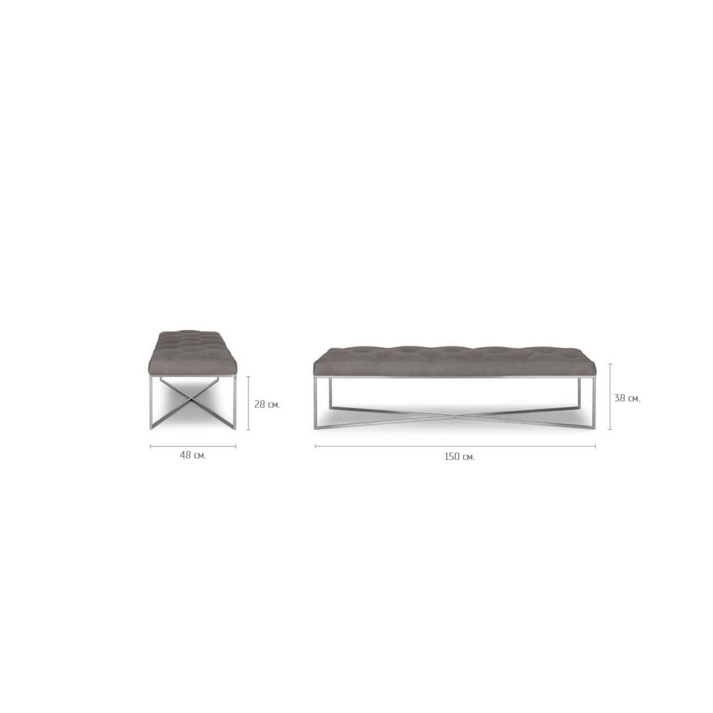 Дизайнерская банкетка Tablet, серая кожаная
