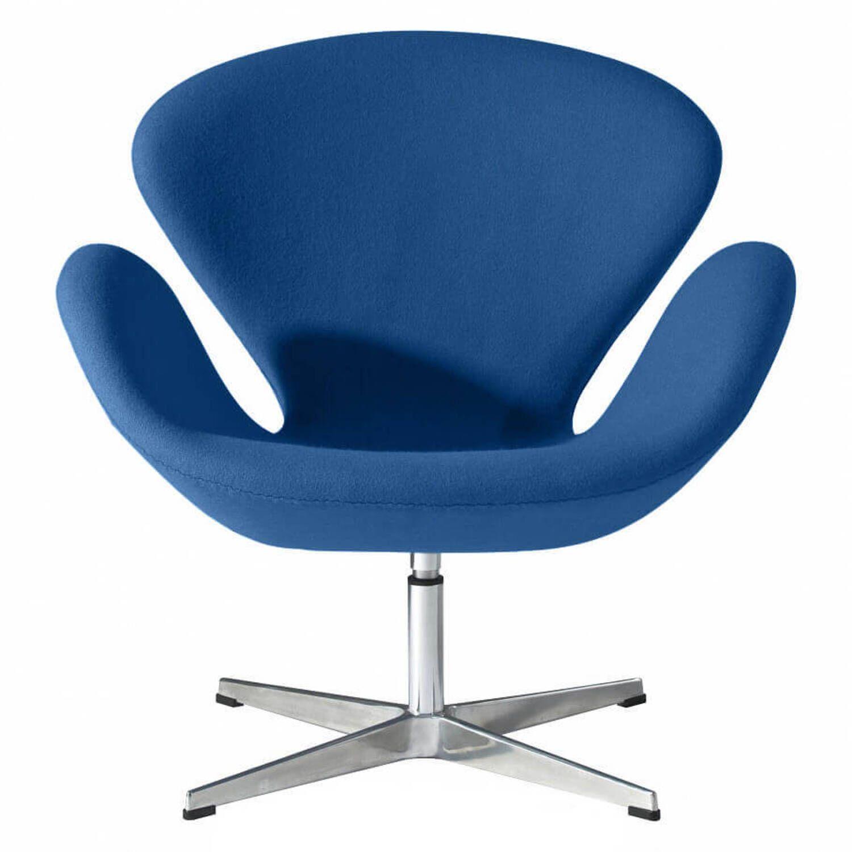 Синее кресло Swan, тканевая обивка