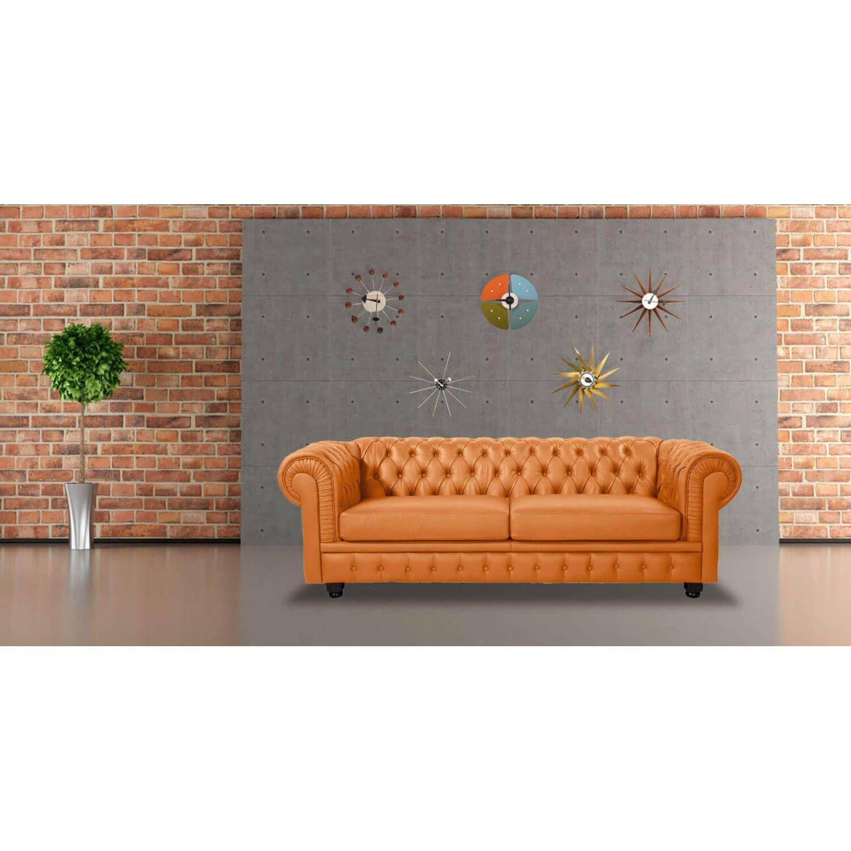 Оранжевый диван Chesterfield, в английском классическом стиле