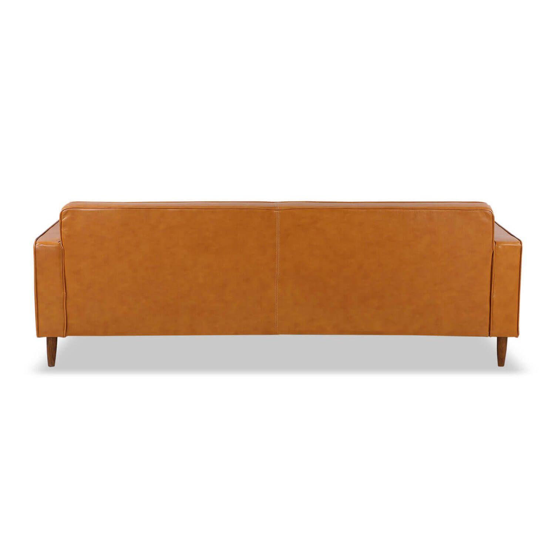 Дизайнерский прямой рыжий кожаный диван Eleanor, в стиле классический модерн, натуральная кожа.