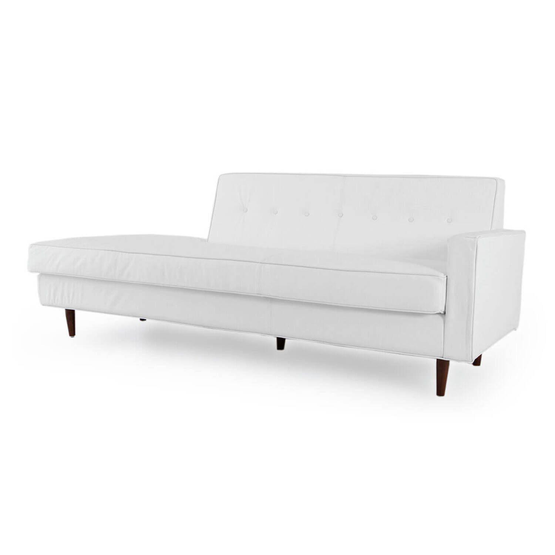 Прямой диван тахта Eleanor, белый кожаный