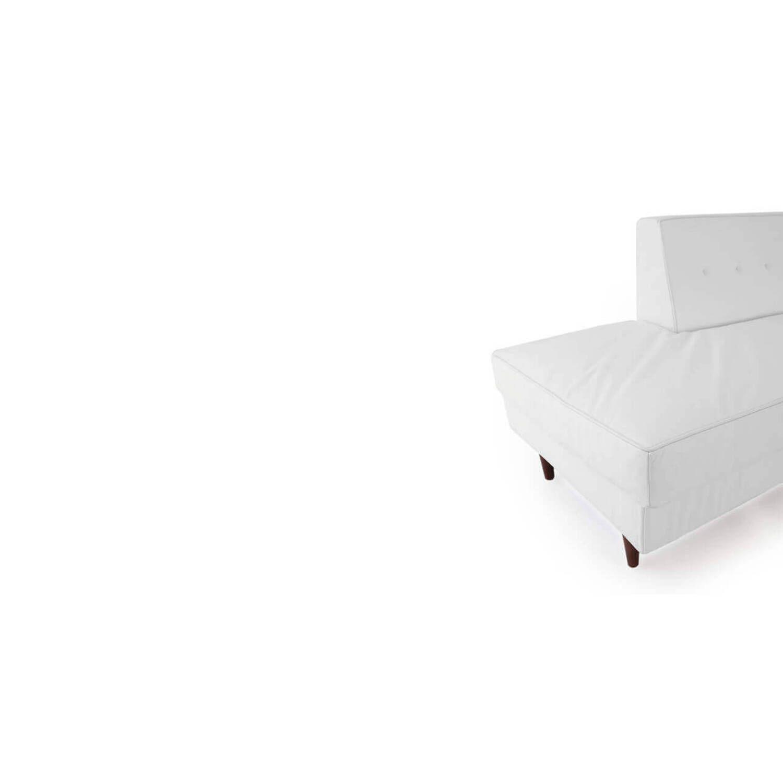 Прямой белый кожаный диван тахта Eleanor.
