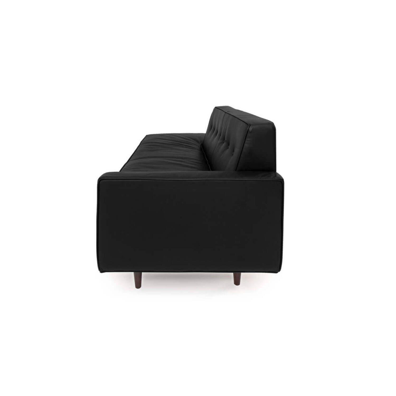 Прямой диван тахта Eleanor, черный кожаный купить