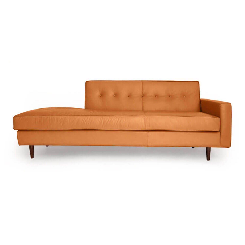 Прямой оранжевый кожаный диван тахта Eleanor.