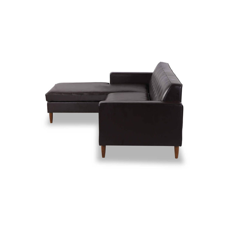 Угловой коричневый кожаный диван Eleanor.