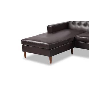 Угловой диван Eleanor, коричневый кожаный