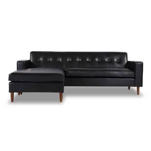 Угловой диван Eleanor, черный кожаный