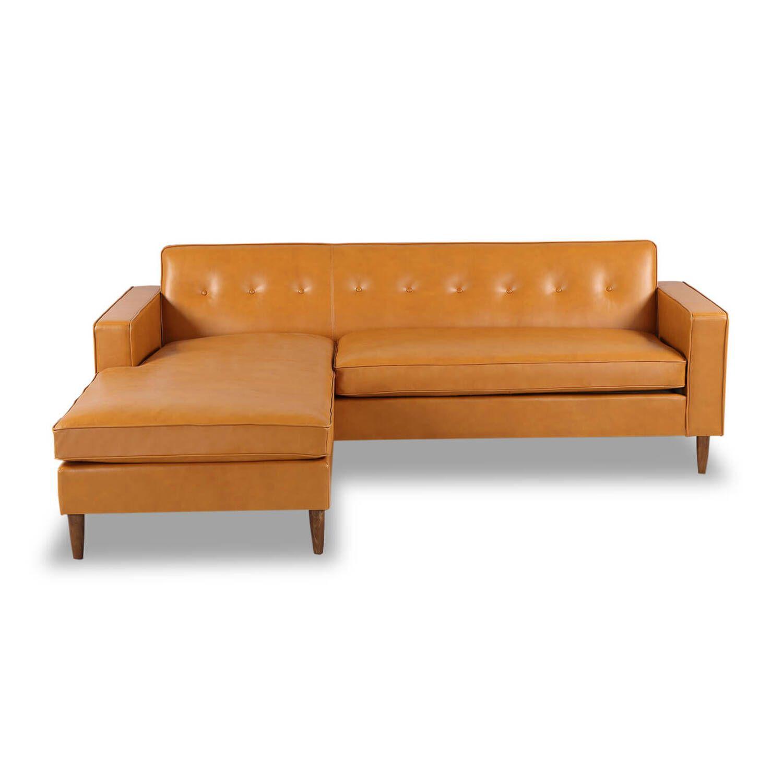 Угловой диван Eleanor, оранжевый кожаный