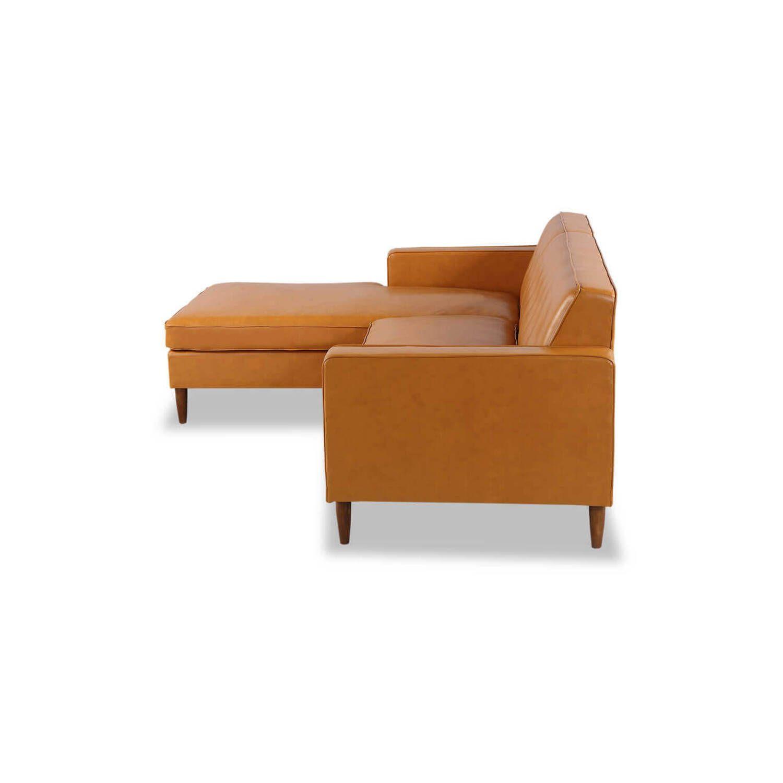 Угловой оранжевый кожаный диван Eleanor.
