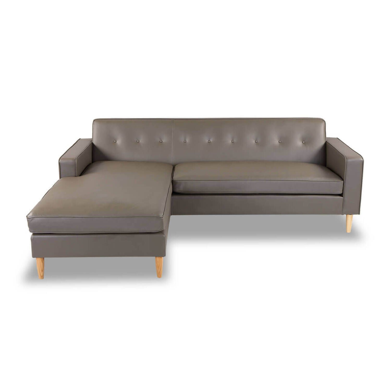 Угловой серый кожаный диван Eleanor.