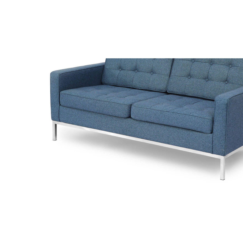 Синий двухместный диван Florence, в стиле Классический модерн с элементами стиля Лофт.