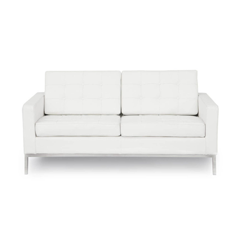 Белый кожаный двухместный диван Florence, в стиле модерн