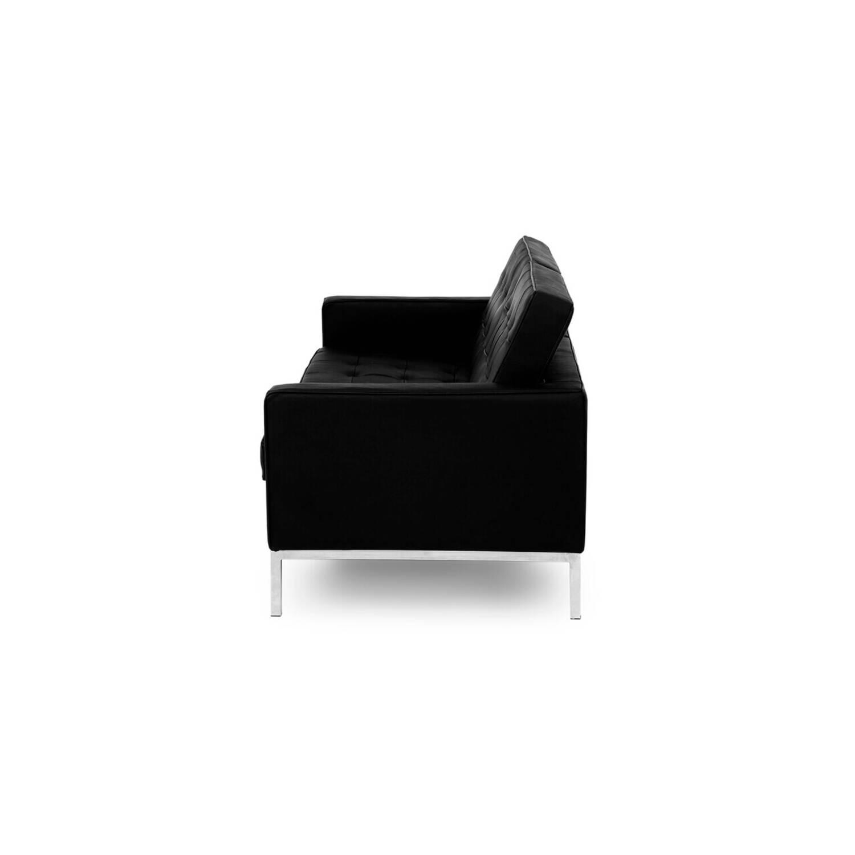 Черный двухместный диван Florence, в стиле Классический модерн с элементами стиля Лофт, экокожа