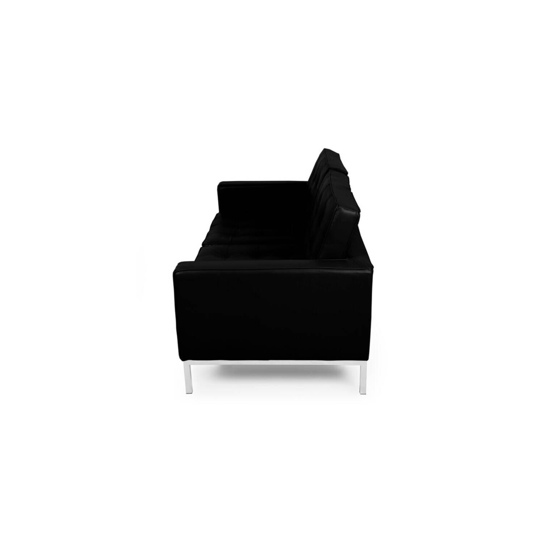 Черный кожаный двухместный диван Florence