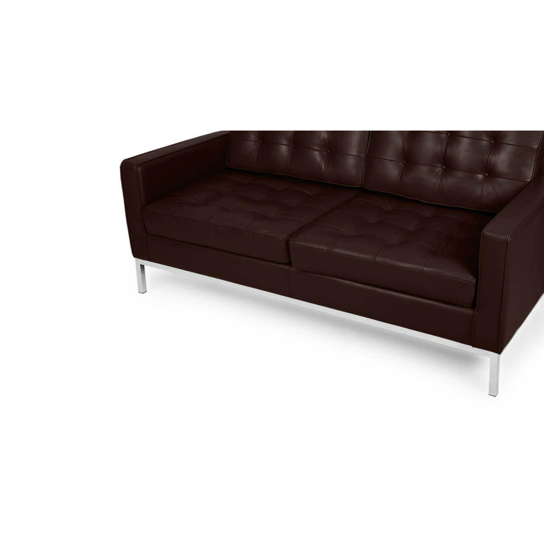 Коричневый двухместный диван Florence, в стиле модерн, экокожа