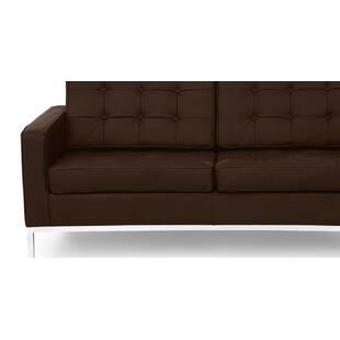 Коричневый кожаный двухместный диван Florence
