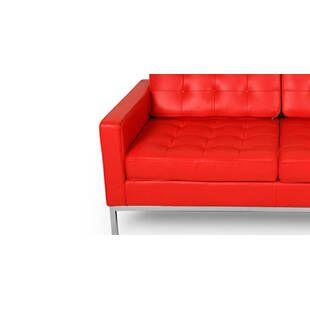 Красный кожаный двухместный диван Florence