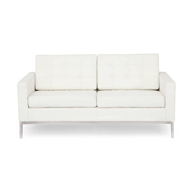 Кремовый кожаный двухместный диван Florence
