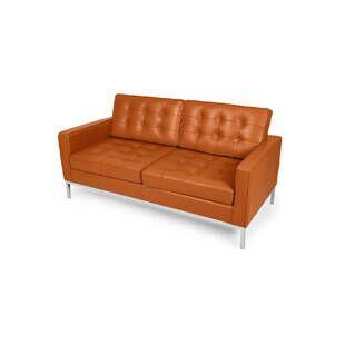 Оранжевый кожаный двухместный диван Florence