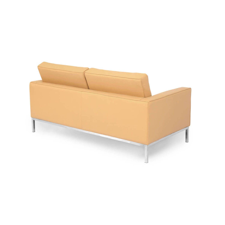 Песочный кожаный двухместный диван Florence