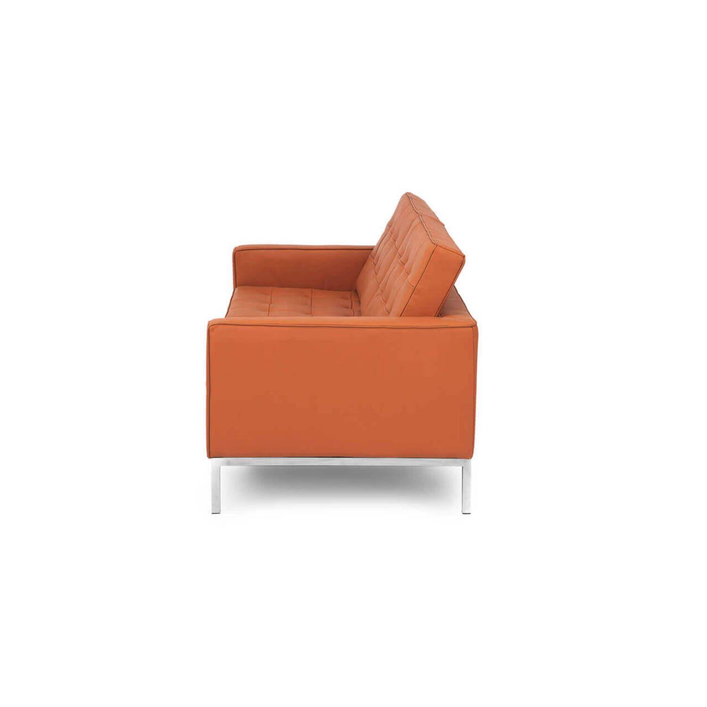 Терракотовый кожаный двухместный диван Florence