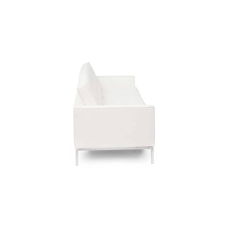 Белый кожаный трехместный диван Florence, в стиле модерн\лофт