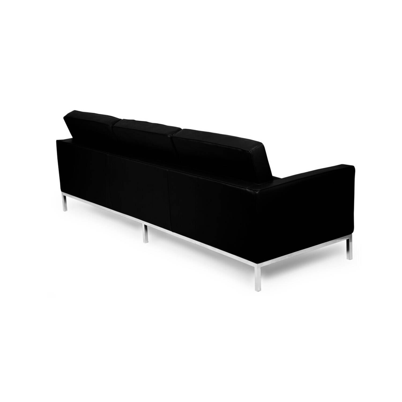 Черный кожаный трехместный диван Florence