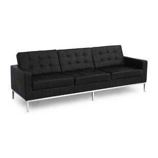 Черный кожаный трехместный диван Florence, экокожа