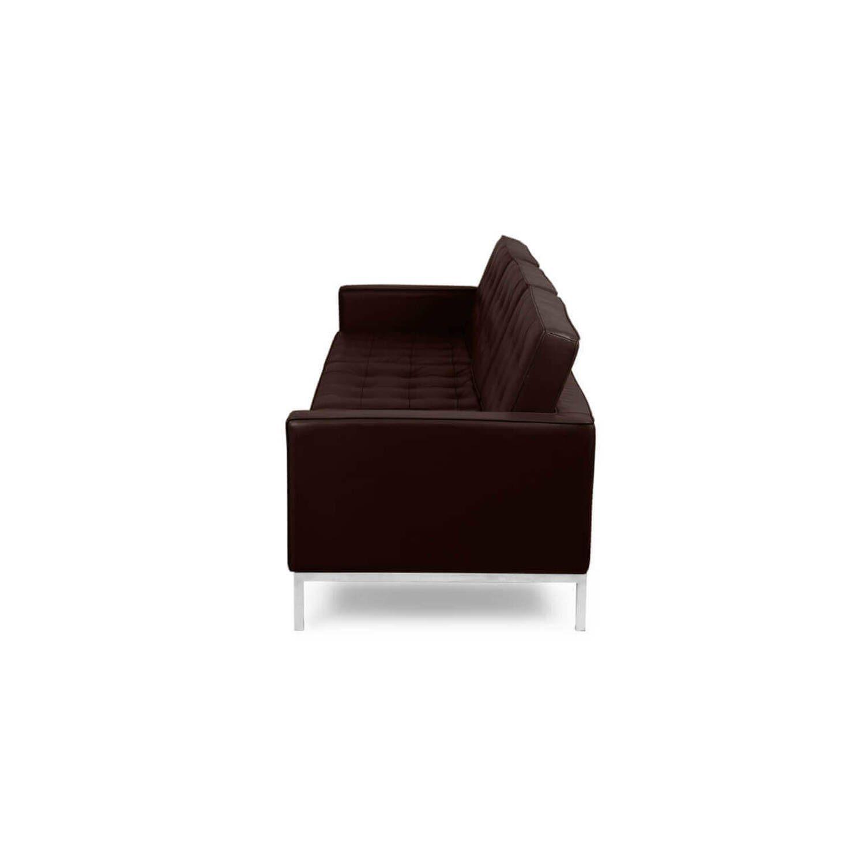 Коричневый кожаный трехместный диван Florence, в стиле модерн\лофт, экокожа