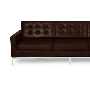 Коричневый кожаный трехместный диван Florence, экокожа