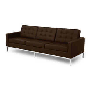 Коричневый кожаный трехместный диван Florence