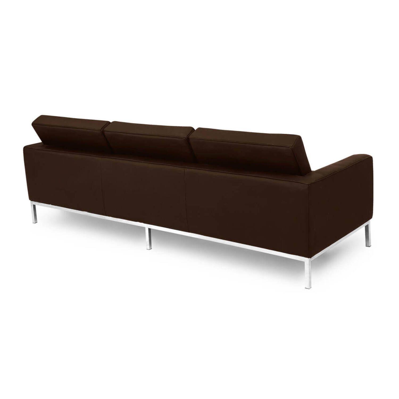 Коричневый кожаный трехместный диван Florence, в стиле модерн\лофт