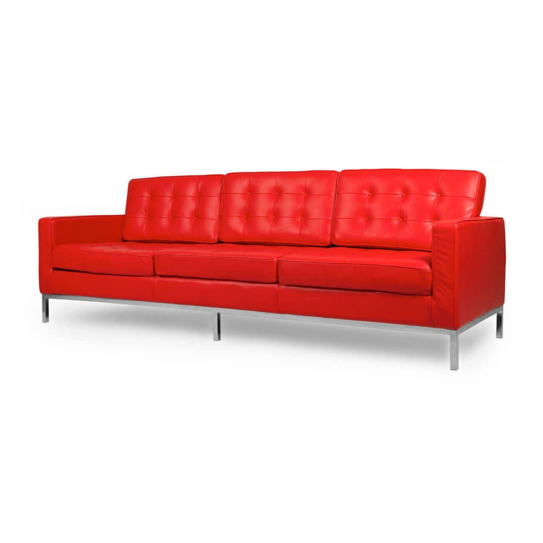 Красный кожаный трехместный диван Florence, экокожа