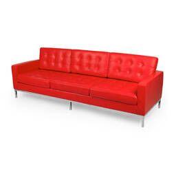Красный кожаный трехместный диван Florence, в стиле модерн\лофт, экокожа