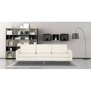 Кремовый кожаный трехместный диван Florence