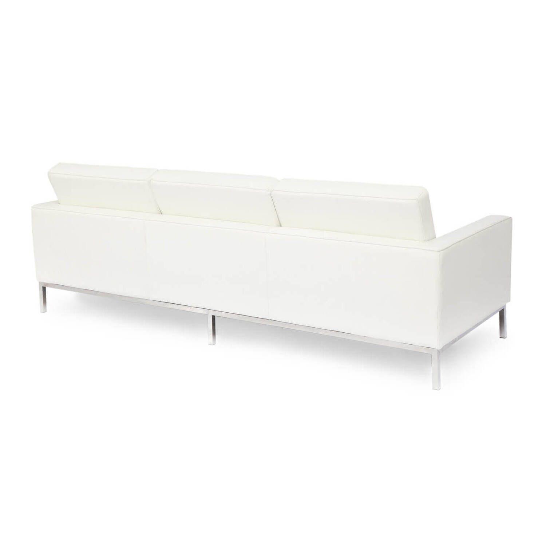 Кремовый кожаный трехместный диван Florence, в стиле модерн\лофт